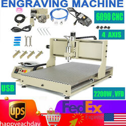 Usb Cnc 6090 4 Axis 2200w Engraver Router Engraving Cutting Milling Diy Machine