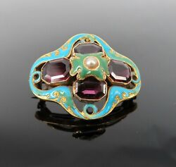 Antique 10.0ct Garnet Enamel And Pearl 18k Yellow Gold Brooch
