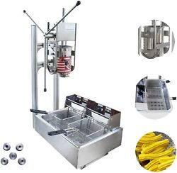 220v 3l Commercial Electric Churrera Spanish Churros Machine With 12l Deep Fryer