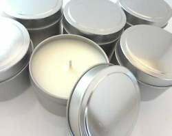 Bulk 4oz No Label Tin Candles, Party Favor, Soy Candles, Hand Poured, All Natura