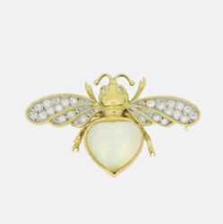 Gold Sapphire Brooch - Vintage 18ct Yellow Gold Turquoise Insect Pin Brooch