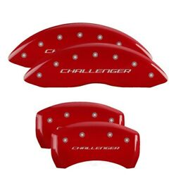 Mgp 4 Caliper Covers Engraved Front And Rear Block For Challenger Red Finish Silve