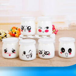 10pcs Lovely Pudding Bottle Glass Heat-resistant Yogurt Containers Milk Cup