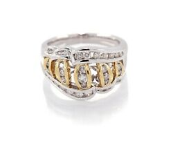 18k Yellow And White Gold Diamond Cocktail Ring 1.00ct. G Color Si Clarity