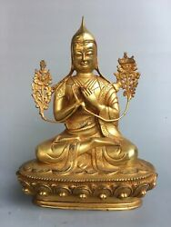 12.2 Antique Old Tibet Buddhism Bronze Gilt Tsongkhapa Statue Asian Collections