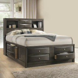 New 8 Drawers Storage Gray Queen King Bed Contemporary Modern Bedroom Furniture
