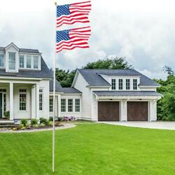 20ft Aluminum Sectional Flagpole Kit Outdoor Halyard Pole And 2x Us American Flag
