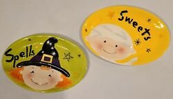 Fitz And Floyd Trick Or Treat Halloween Snack Plates With Box Witch Mummy