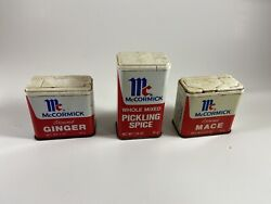 Lot Of 3 Vintage Metal Spice Tins Mccormick Antique Old Cooking Spices