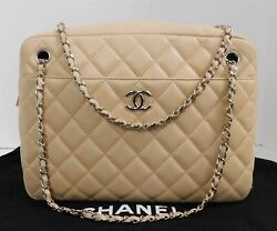 Lambskin Quilted Large Camera Case Beige Clair Italy