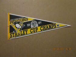 Nhl Pittsburgh Penguins Vintage 1991 Stanley Cup Champs Team Logo Pennant