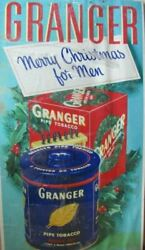 Old Granger Tobacco Merry Christmas For Men Cardboard Ad Sign Litho Usa