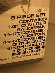 Vintage Revere Ware Cookware 8 Set Aluminum Disk Bottom New In Box Fast Shipping