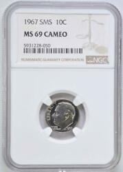 1967 Sms Roosevelt Dime Ngc Ms 69 Cameo Top Pop None Finer