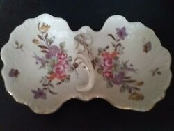 Antique Japanese Lefton Double Sided Floral Candy Dish-original Sticker