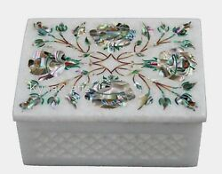 4 X 3 Inch Marble Decor Box With Abalone Shell Inlay Art Trinket Box For Home