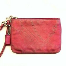 COACH Metallic Pink Silver Leather Wristlet Coach Charm Chain Embossed Clutch $24.78