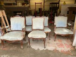 6 Nice Antique French Walnut Louis Xvi Style Chairs