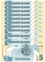 Solomon Islands Lot Of Ten 5 Dollar Year 2019 Banknotes Gem Unc