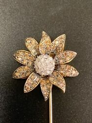 18k Yellow And White Gold W/ White And Chocolate 1 1/2ct Diamond Sunflower Brooch