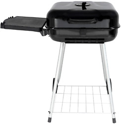 22 Square Charcoal Grill W/ Side Shelf Bbq Barbecue Cooker Wheels Portable