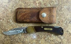 Vintage Schrade Old Timer 60t Folding Knife W/ Leather Sheath Free Shipping