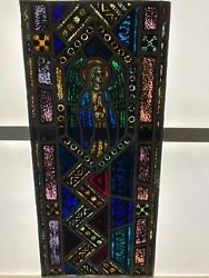 Antique German Stained Glass Church Angel Window From A Closed Church - X14