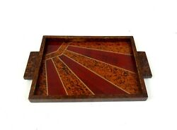 Small French Art Deco Sunray Cocktail Tray Geometric Glass Salver 1930