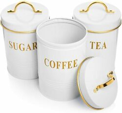 Restaurant Grade Farmhouse Canisters Sets For The Kitchen With Lids - Tea, Sugar
