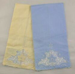 Vintage Madeira Embroidered Linen Hand Towels First Lady Lot Of 2