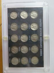 Set Of Mercury Silver Dimes 1941-1945 15 Coins Plastic Holder 90 Silver