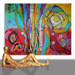 Large Painting Artwork Design Design Wall Art Decor Abstract Unique 78 X 55