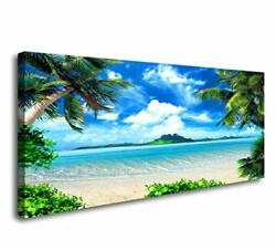 Canvas Wall Art Ocean Waves Coconut Trees on Sands Beach for Bedroom Home $56.06
