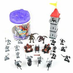 Knights And Dragons Figures In Bucket Andndash 42 Assorted Soldiers And Accessories