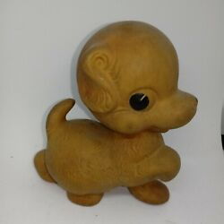 Vintage 1940s Rempel Mfg Rubber Lamb Squeak Toy Works Baby Game Cute Fawn Brown