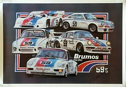Rare Brumos Porsche Racing Famous 59's Poster 27 X 39 Signed By Hurley Haywood