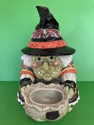 Fitz And Floyd Halloween Gypsy Witch Cookie Jar With Bat And Gecko