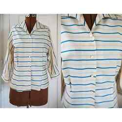 Vintage Sz M 50s Blue Striped Cotton Blouse With 3/4 Sleeve Career