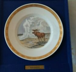 Royal Copenhagen National Parks Yellowstone Moose And Old Faithful Limited Plate