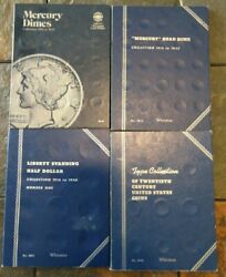 Lot Of 4 Whitman Coin Albums Mercury Dime, Liberty Standing Half Dollar + More