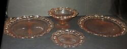 Anchor Hocking Old Colony Pink Depression Glass 1sherbert Bowl 2plates 1saucer