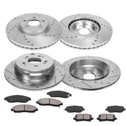 Front And Rear Drill Slot Brake Rotors And 8 Ceramic Pads For Acura Mdx Zdx Pilot