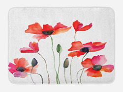 Lunarable Watercolor Flower Bath Mat, Poppies Wildflowers Nature Meadow Painting