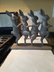 Four Dancing Bunny Rabbits Possibly Resin On Base Of 12inches Height 11inches