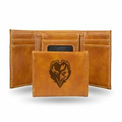Baltimore Ravens Laser Engraved Brown Synthetic Leather Trifold Wallet