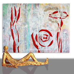 Abstract Paintings Sale Wall Decor Red White Canvas Unique Artwork 78 X 60
