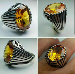 925sterling Silver Certified Handmade Aaa+ Quality Yellow Citrine Huen Ring Us13