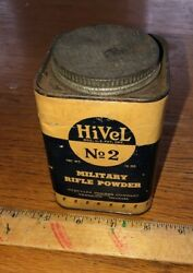 Vintage Original Hivel 2 Military Rifle Powder Tin Can Hercules Container 1930s