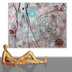 Abstract Paintings Sale Wall Decor Red Silver Canvas Unique Artwork 78 X 60