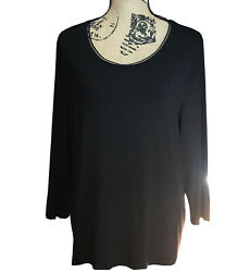 Womens Peter Nygard Black Long Sleeved Pullover Top - Size 1x